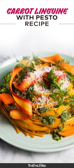 Linguine cooks in carrot juice before getting topped with bright pickled carrot shavings, carrot-top pesto and grated Parmesan.