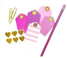 Pretty pink and purple gift tags are perfect for any occasion! #pinkandpurple #gold #hearts #pattern #gifttags #packaging #giftwrapping #embellish #scrapbooking #decorate #create #diy #make #prettypaper #officesupplies #deskdecor #craft #stripes #xoxo #glitter #stickers #etsyseller #shopstaceyslove #houstoncreatives