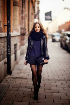Polka dots tights with sexy skirt, leather coat and big scarf