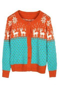 Orange Long Sleeve Deer Snowflakes Print Cardigan Sweater US$42.96
