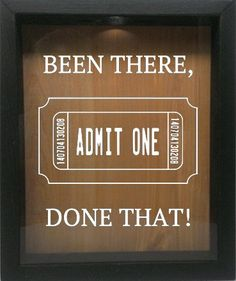 """Amazon.com - Wooden Shadow Box Wine Cork/Bottle Cap Holder 9""""x11"""" - Been There Done That with Ticket (Ebony w/Black) -"""