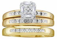 Men's Ladies 10K Yellow Gold .1CT Round Baguette Cut Diamond Wedding Engagement Bridal Trio Ring Set (ladies size 7, men size 10)   for more details visit :http://jewelry.megaluxmart.com/