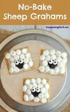 These adorable No-Bake Sheep Grahams are perfect for little lunch boxes, kid parties, school snacks or fans of Shaun the Sheep! Children will love these as quick treats or desserts and want to share t . Healthy Snacks For Toddlers And Preschoolers Preschool Cooking, Preschool Snacks, Cooking With Kids, Easy Cooking, Healthy Cooking, Farm Activities, Cooking Fish, Kid Snacks, Preschool Farm Theme