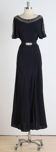 1930s Black Crepe Dress with Deco Belt | From a collection of rare vintage evening dresses at https://www.1stdibs.com/fashion/clothing/evening-dresses/