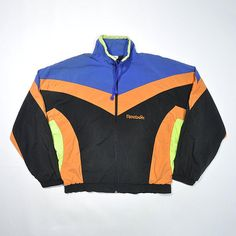 58ffe581b8193f Vintage 80s 90s REEBOK Windbreaker Jacket   REEBOK Multi Color Block  Colorway Shell Jacket   Retro REEBOK Old school Jogger Running Jacket