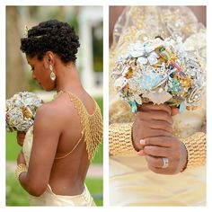 My Natural Sistas @ mynaturalsistas The Gorgeous Bride  @ lynnettessilhouettes.  wedding hair. bridal hair. natural bride. hairstyles for short hair. twa. big chop. short natural hairstyles. wedding hairstyles.
