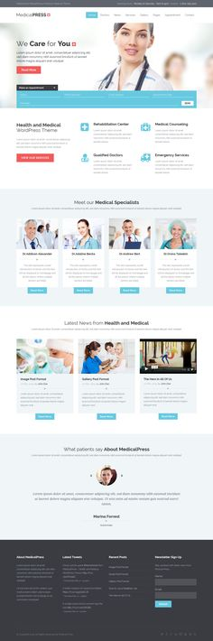 MedicalPress is a premium WordPress theme for Health and Medical websites. It is a highly suitable theme for doctors, dentists, hospitals, health clinics, surgeons and other type of health and medical related institutions. Dentist Website, Hospital Website, Medical Websites, Health Organizations, Responsive Layout, Medical Design, Newsletter Design, Web Layout, Web Design Inspiration