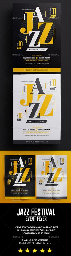 Jazz Night Fest Flyer Template PSD, AI Illustrator. Download here: graphicriver.net/...