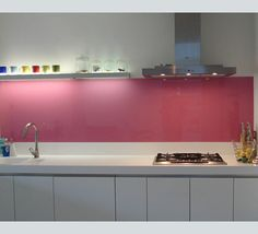 Painted Glass Splashback in pink  http://www.floatglassdesign.co.uk/painted_glass_about.php#