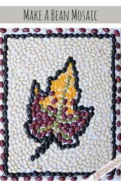 Fun Fall Crafts to Make With Your Kids Bean Mosaic: Fall Leaf Project - Tiny Rotten Peanuts Fall Arts And Crafts, Autumn Crafts, Fall Crafts For Kids, Autumn Art, Nature Crafts, Crafts To Make, Leaf Projects, Mosaic Art Projects, Fall Art Projects