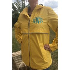 Monogrammed Rain Coat Monogram Rain Jacket Women's Personalized... ($50) ❤ liked on Polyvore featuring outerwear, coats, pink, women's clothing, waterproof rain jacket, waterproof coat, pink raincoat, hooded coat and brown coat