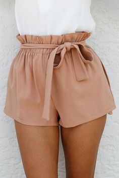 Nude Sash Belt Tie Stretchy Shorts