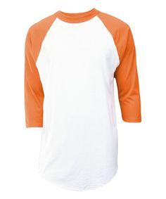 White & Orange Raglan Top - Unisex