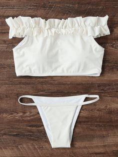 Shop Frill Detail Bardot Bikini Set online. SheIn offers Frill Detail Bardot Bikini Set & more to fit your fashionable needs.