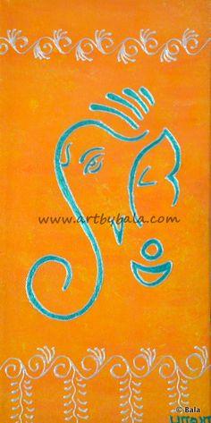 """Ganesh,"" 2014. Size - 6"" x 12"", Textured henna style acrylic painting on canvas. © Bala Thiagarajan, 2014. www.artbybala.com"
