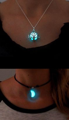 Glow in the dark tree and moon necklaces
