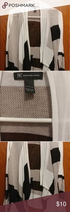 NWOT! Neutrals Cardigan Sweater Nwot Online order Super cute True to size Slight stretch Waterfall cardi Smoke pet free INC International Concepts Sweaters Cardigans