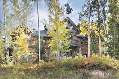 The home's traditional parkitecture façade features chinked logs, local stone and peaked roofs, all typical of its Bachelor Gulch neighborhood.