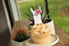 Llama Cupcake Toppers (1 Set of 12 Toppers). Llama Birthday Party. Llama Fiesta #catchmyparty #partyideas #llamacupcakes #llamaparty #llamapartyfood