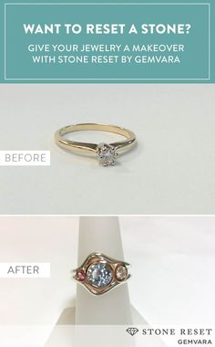 Turn your center stone into a side stone and create a new ring with some extra glitz.  This customer used Stone Reset by Gemvara  to upgrade a much-loved diamond.