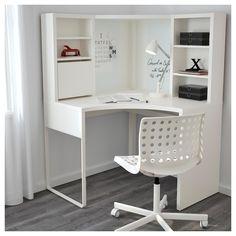 Lovely study table design ideas that will motivate you Ikea Corner Desk, Small Corner Desk, Small Study Table, Corner Workstation, Ikea Desk, Ikea Study Table, Corner Office Desk, White Corner Desk, Study Tables
