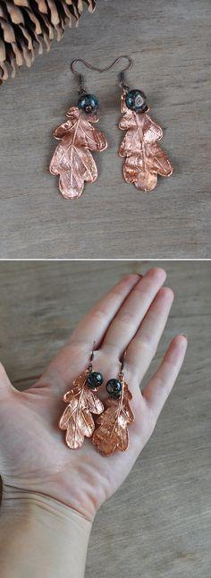 Earrings from oak leaves electroformed leaf by ChechelArt on Etsy