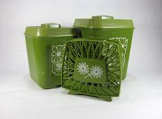 Vintage Plastic Kitchen Canister/ Picnic Set With by TurnerVintage, $15.00  www.TurnerVintage.etsy.com  www.facebook.com/TurnerVintage