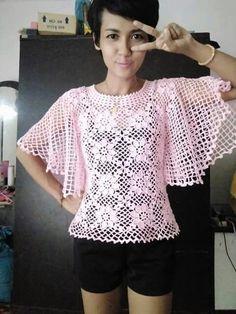 Crochet top pullover motif