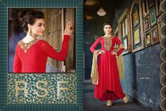 76ee0257509 New Western Style Designer Red Embroidery Anarkali Suit - Buy Online at best  prices on Shimply.com