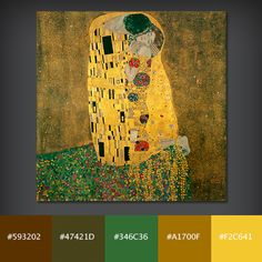 Colour Palette  The Kiss Gustav Klimt 1907.  Earthy