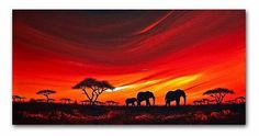 African sunset - by Shirley Ann Shelton from Giraffe, Elephant, African Sunset, Art Portfolio, Wall Spaces, Art Ideas, Ann, Artist, Painting