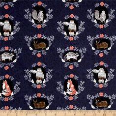 Dear Stella Foxtail Forest Beyond The Brush Navy from @fabricdotcom  Designed by Rae Ritchie for Dear Stella Designs, this cotton print collection features lovely woodland creatures and whimsical illustrations. Colors include deep blue, white, black, shades of grey, and rust orange.