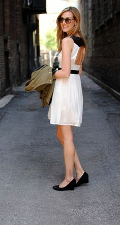 See Jane. black wedges + black and white cut out dress + tortoise shell sunglasses. love.