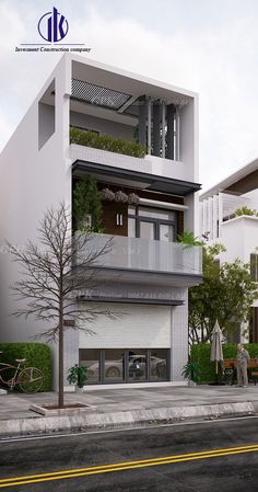 TL 05 Bungalow House Design, House Front Design, Modern House Design, Home Building Design, Building A House, Narrow House Designs, Modern Minimalist House, 3d Home, Street House