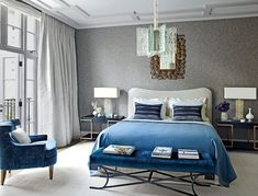Walls upholstered in a Pierre Frey fabric bring a unique texture into this regal bedroom. Grey Furniture, Contemporary Furniture, Bedroom Furniture, Grey And White Curtains, French Interior, Interior Design, Room Interior, Upholstered Walls, Townhouse Designs
