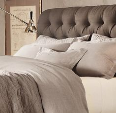My new Restoration Hardware bedding (mixed with Bella Notte seaglass blue). Heavenly! Best day after Christmas present a girl could ask for...#myhubbylovesme