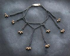 SEEDS / crochet bracelet / bronze glass beads / by PetiteMortShop Tribal Jewelry, Boho Jewelry, Beaded Jewelry, Fashion Jewelry, Jewellery, Crochet Bracelet, Stylish Jewelry, Glass Beads, Bronze