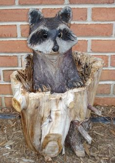 Chainsaw Wood Carvings | Chainsaw Wood Carved Raccoons