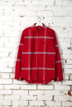 freshjive - men's gridlock l/s shirt (pompeian red) - Freshjive | 80's Purple