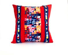 """Red Geometric Decorative Pillow Cover  Size 16"""" x 16"""" Colourful Throw Pillow, Australian Sellers, Blue Accent Pillow, Red Cushion Cover gift"""