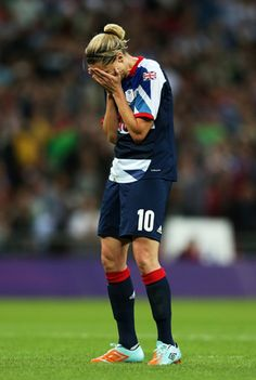 Kelly Smith, #10, of Great Britain reacts after her penalty kick against Brazil was blocked during the Women's Football first round Group E Match between Great Britain and Brazil on Day 4 of the London 2012 Olympic Games at Wembley Stadium on July 31, 2012 in London, England. Britain won 1-0.    Credit: Julian Finney/Getty Images