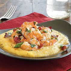 Cheesy Shrimp and Grits Recipe Main Dishes with chicken broth, quickcooking grits, salt, freshly ground pepper, butter, shredded cheddar cheese, bacon, medium shrimp, fresh lemon juice, worcestershire sauce, fresh parsley, green onions, garlic cloves