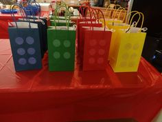 Favor bags at a Lego birthday party! See more party ideas at CatchMyParty.com!