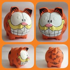 Garfield Pottery Painting, Ceramic Painting, Hat Crafts, Crafts To Make, Pig Bank, Penny Bank, Personalized Piggy Bank, Mini Pigs, Cute Piggies