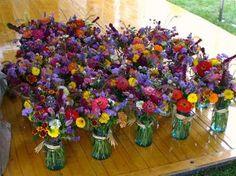 Mason jars with Costco mini bouquet. LOVE. IT.