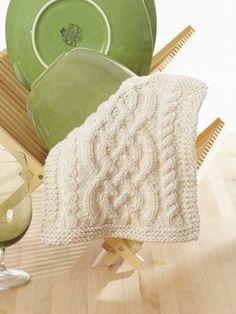 Celtic Cables Dishcloth | Yarn | Free Knitting Patterns | Crochet Patterns | Yarnspirations