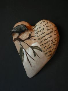Wall relief sculpture heart black bird wall by SusanSorrentino