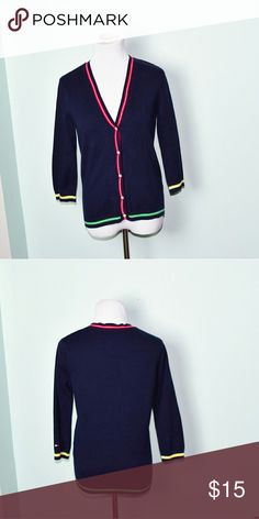 Tommy Hilfiger Navy Colored Striped Cardigan In excellent condition! Very comfortable, lightweight, and stretchy! Buy 3 items and get 1 free plus 15% off your purchase total! Tommy Hilfiger Sweaters Cardigans