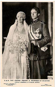 The Crowned Prince of Belgium, Prince Albert amd Princess Astrid, 1920s European Royalty Wedding Photo