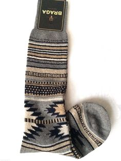 Womens Navajo Aztec Knee High Socks Wool Cashmere Blend Gray Boot Winter O/S NEW #BRAGA #Bootsocks